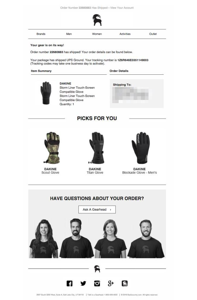 Backcountry recommends products in its order confirmation email.