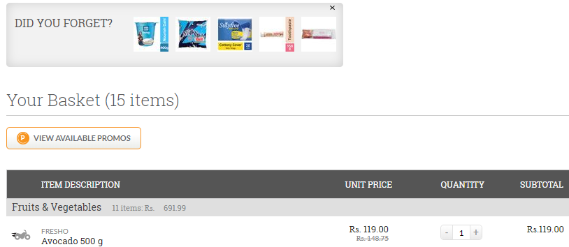 BigBasket's cart page recommendations.