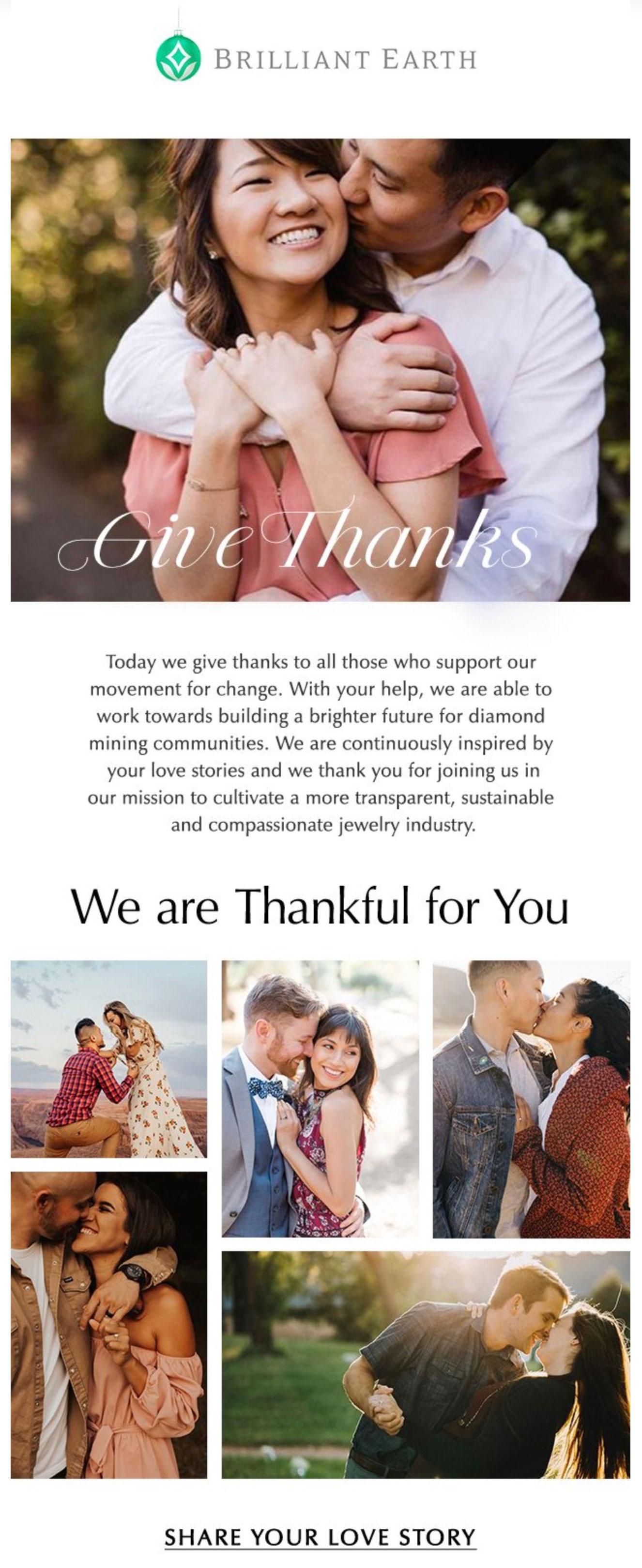 Brilliant Earth's thankful message.