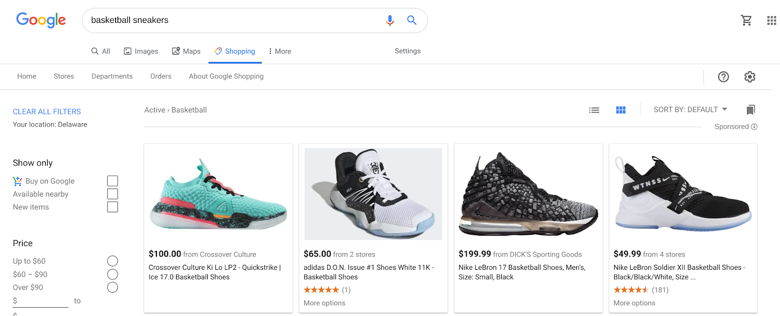 An example of basketball shoes on Google Shopping.