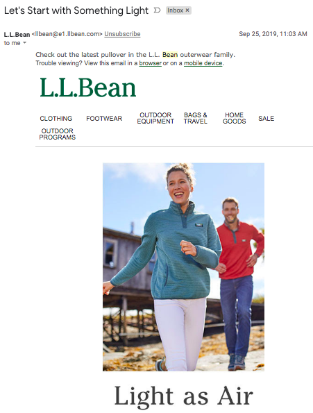 L.L. Bean uses a pun in its subject line to set a tone.