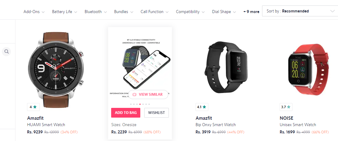 Myntra's recommendations on hover.