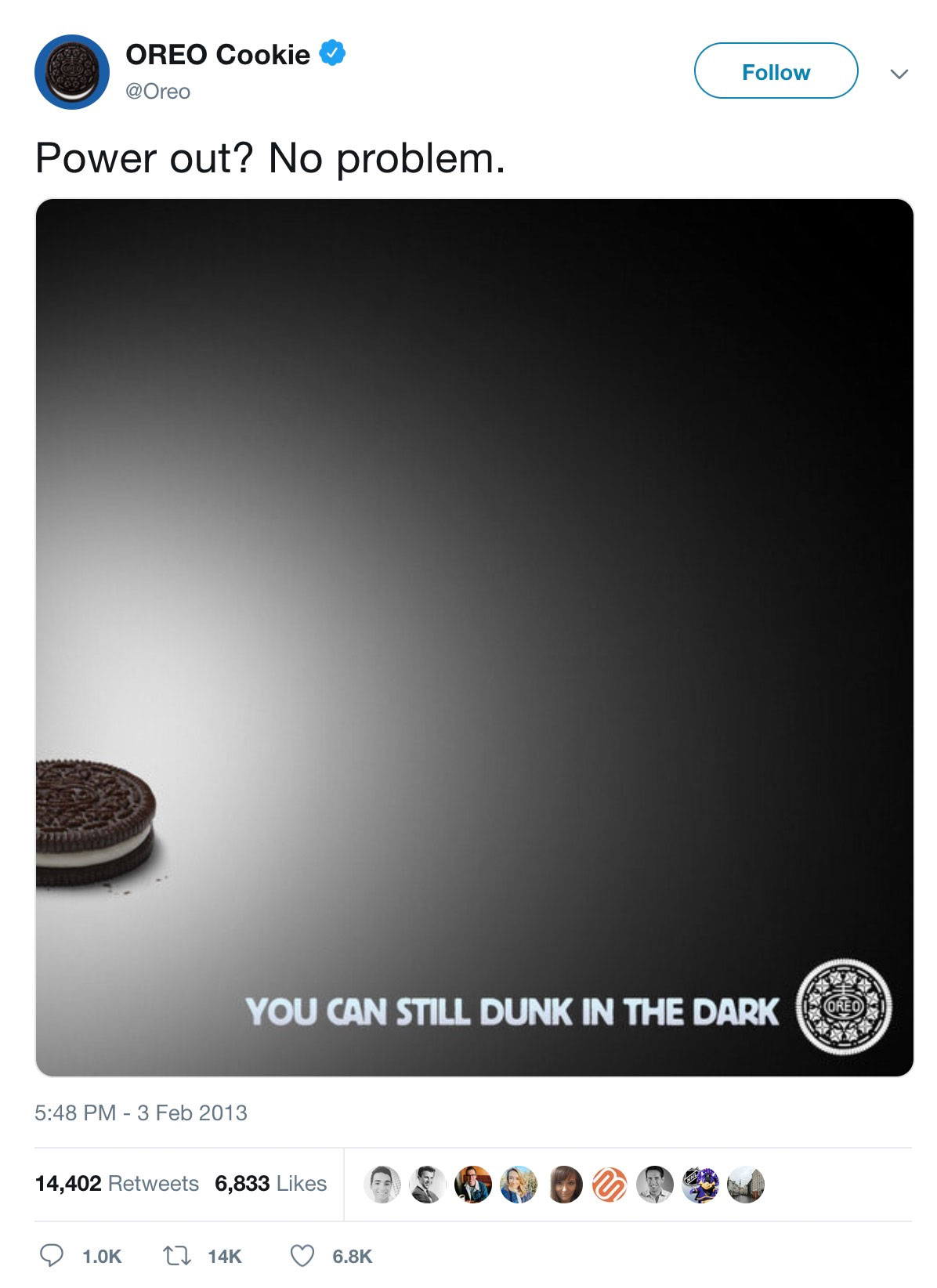 Oreo's famous Super Bowl power outage newsjacking.