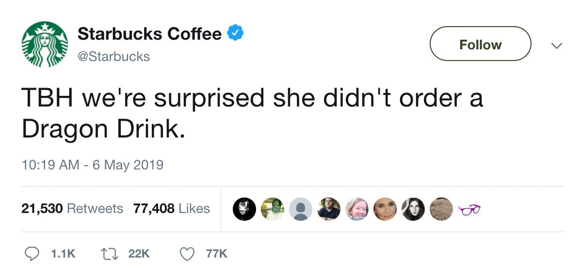 Starbucks tweeted a response to the Game of Thrones coffee cup incident.