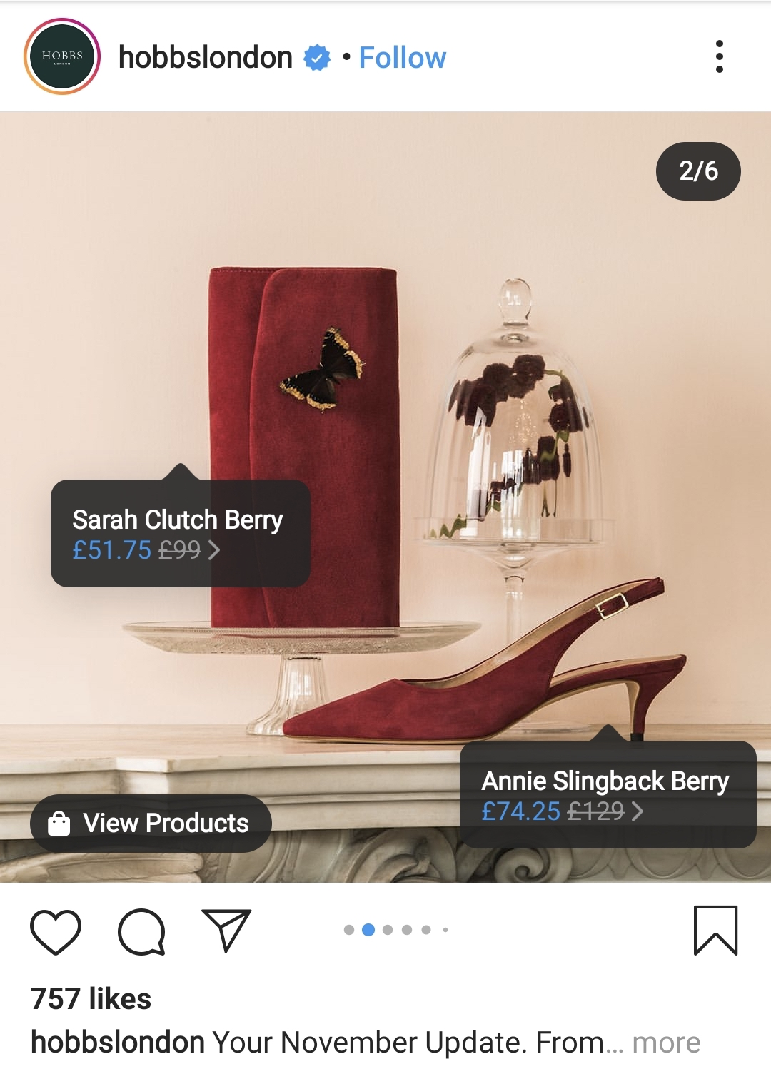 Hobbs London with multiple items in a post.