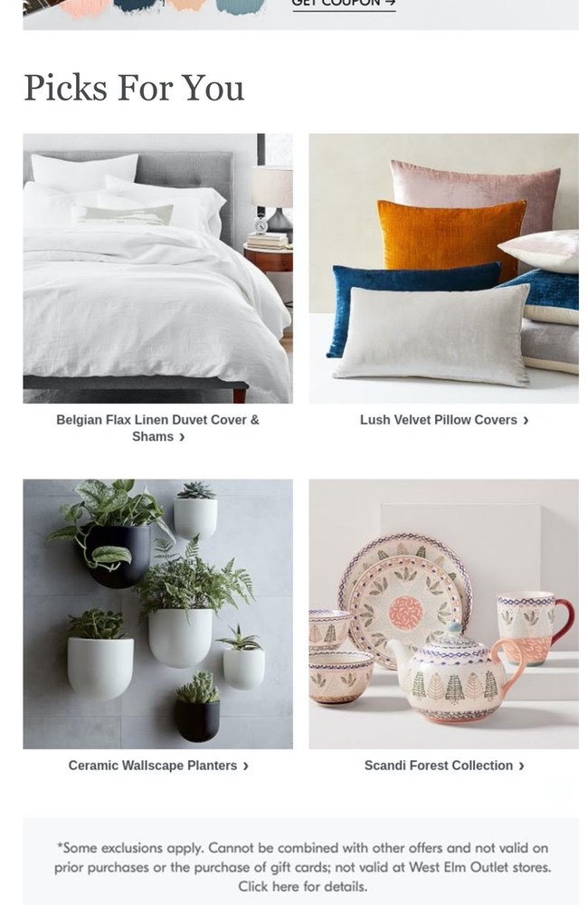 West Elm's personalized recommendations.